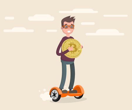 a guy skateboarding on a gyro and holding a bitcoin coin in his hand. Vector illustration in cartoon style Illustration
