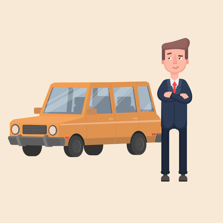 businessman admires his new car.Vector illustration in cartoon style