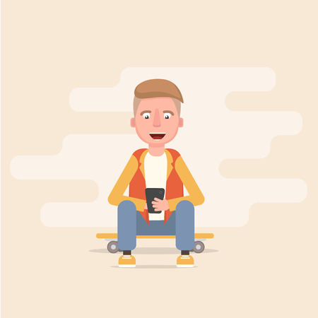 the guy is sitting on the skateboard and looking into the phone. Vector illustration in cartoon style