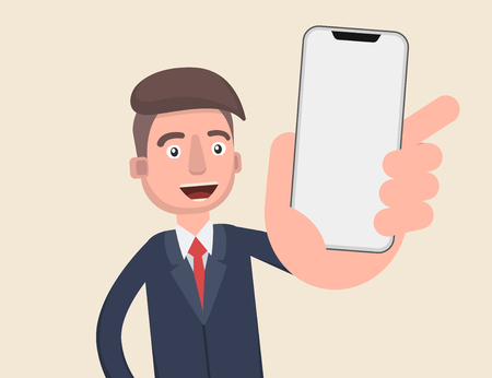 Business man show smart phone. Vector illustration in cartoon style