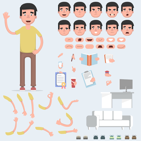 Creating a young guy with a lot of different views, emotions, postures and gestures. Cartoon style, flat vector illustration. Vettoriali