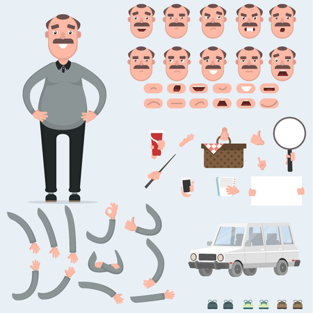 Creating a man with a lot of different views, emotions, postures and gestures.