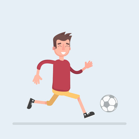 Soccer player hits the ball. Vector illustration of a flat design.