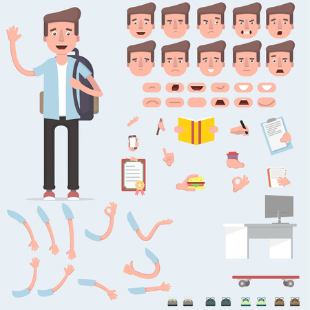 Creating a young guy with a lot of different views, emotions, postures and gestures. Cartoon style, flat vector illustration. Vector illustration of a flat design. Illustration