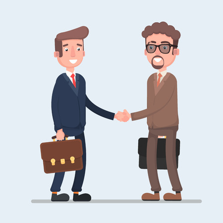 Two smiling businessmen shaking hands together. Vector illustration of a flat design.