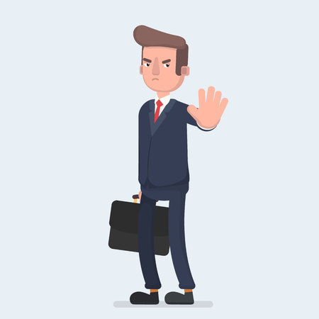 Angry business man or strict boss standing and rejecting something with stop hand gesture. Vector illustration of a flat design.