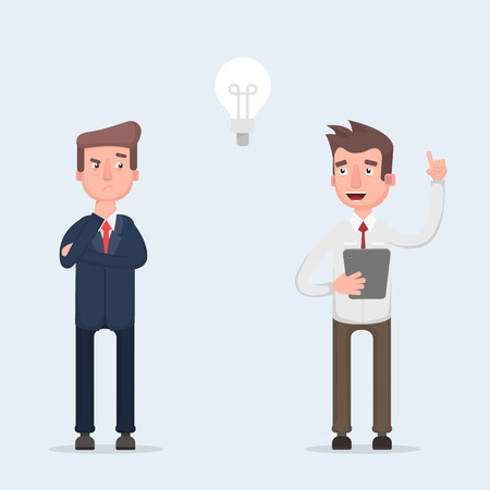 Two businessmen working together. Great idea in the form of a light bulb. The concept of teamwork and brainstorming. Vector illustration of a flat design.