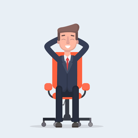 Businessman sitting calmly on a casters chair legs crossed and hands behind head. Vector illustration of a flat design.