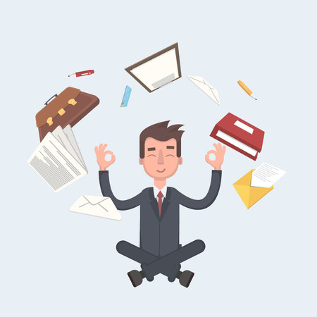 Business man sitting in lotus pose with flying around documents, flying around him. Vector illustration of a flat design.