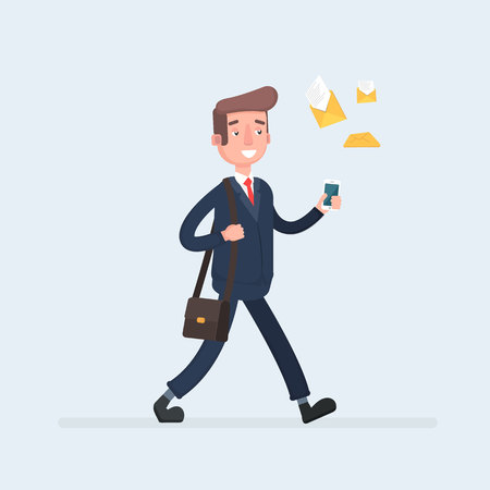 Businessman walking with a smartphone in hand and many e-mail letters following him. Illustration