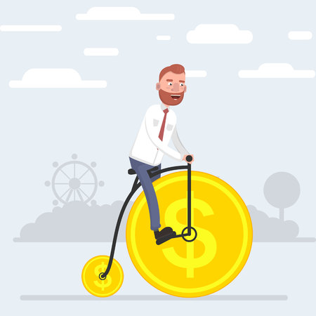 A man riding a bicycle that wheels out of coins. Vector illustration of a flat design. Vectores