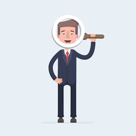 Handsome businessman in formal suit looking through a magnifying glass. Vector flat design illustration. Illustration