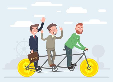 Team work together eat on one bicycle. Vector illustration of a flat design. Illustration