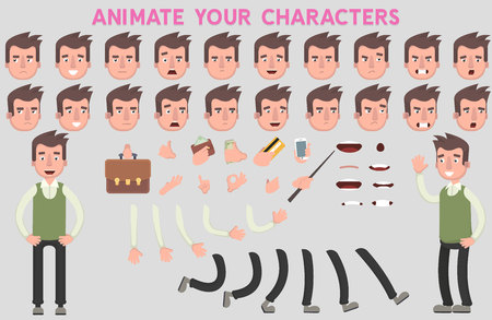 Flat Vector Guy character for your scenes. Character creation set with various views, face emotions, lip sync and poses. Parts of body template for design work and animation. Illustration
