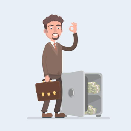 Happy smiling rich office worker businessman character stand near safety safe deposit box. Stock Illustratie