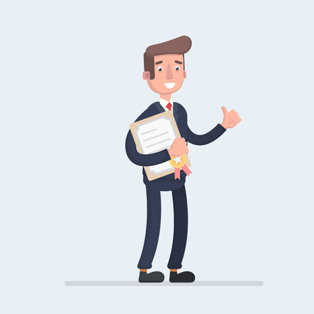 Standing business man holding certificate or diploma and showing thumbs up gesture. Stock Illustratie