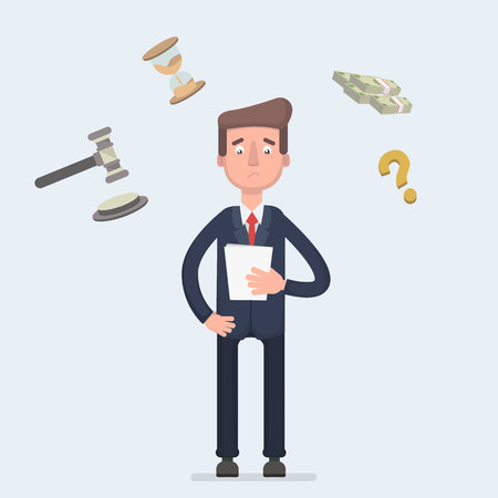 Sad broken businessman standing with legal paper or bill in hands. Afraid of sentence or prosecution due to business debts or braking law. Crisis bankruptcy concept.