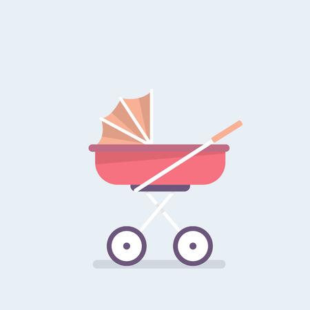 Baby carriage. Pram. Stroll. Flat editable vector illustration, clip art. Vector illustration in cartoon style
