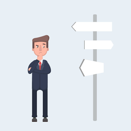 Businessman standing and confused by direction signs. Choices and decision concept.Vector illustration in cartoon style Stock Illustratie