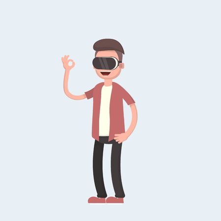 Cool vector concept on virtual reality headset in use. Guy experiences full immersion into virtual reality trying to touch non-physical object. Vector illustration in cartoon style Stock Illustratie