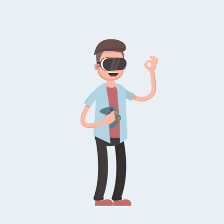 Cool vector concept on virtual reality headset in use. Guy experiences full immersion into virtual reality trying to touch non-physical object. Vector illustration in cartoon style Illustration