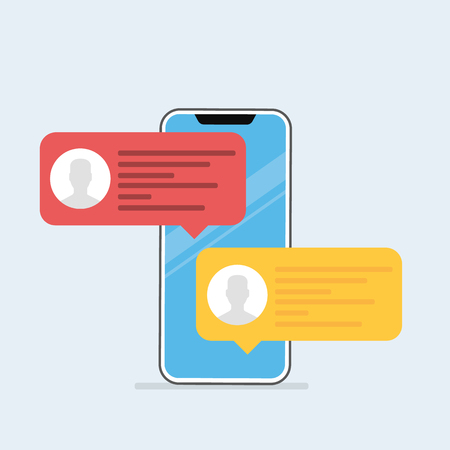 Powiadomienie o wiadomościach czatu na ilustracji wektorowych smartfona, płaskie kreskówki sms bąbelki na ekranie telefonu komórkowego. Ilustracja wektorowa w stylu cartoon