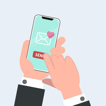 Send or receive love sms, letter, email with mobile phone. Valentine s day illustration. Human hand hold cellphone. Vector illustration in cartoon style