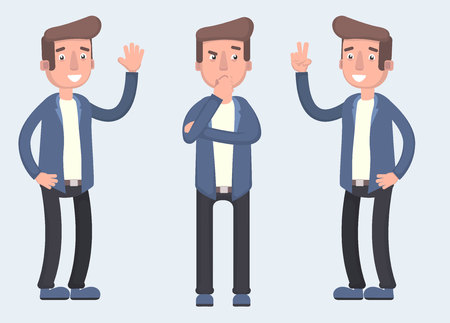 Set of character bearded man greets , thinks and finds a solution. Vector illustration in cartoon style Stock Illustratie