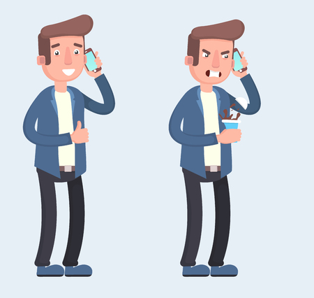 Man is talking on the phone with different emotions. Cheerful, thoughtful, angry. Vector illustration in cartoon style