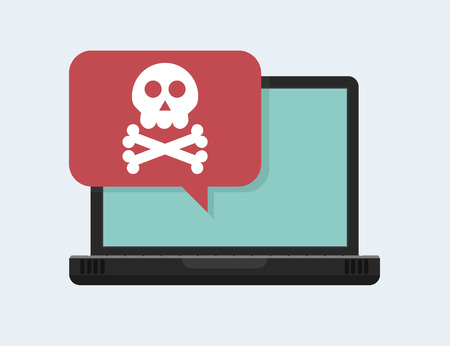 Alert notification on laptop computer vector, malware concept, spam data, fraud internet error, insecure connection, online scam, virus. Vector illustration in cartoon style