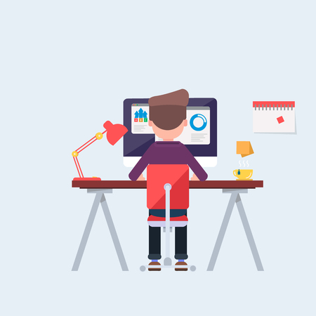 Casually clothed office worker at his desk busy with his tasks, back view. Cool vector flat design illustration on productivity at work with man working on desktop computer. Vector illustration in cartoon style
