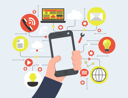 Smart phone in hand, media icons vector flat design.