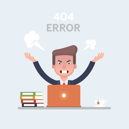 Businessman vector stock feeling angry and frustrated in front of his laptop. Stock Illustratie