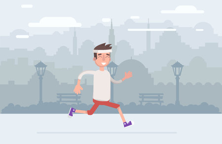 Young man jogging in the park illustration.