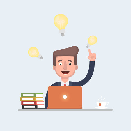 Businessman vector stock having ideas while working behind his laptop, great for presentation.
