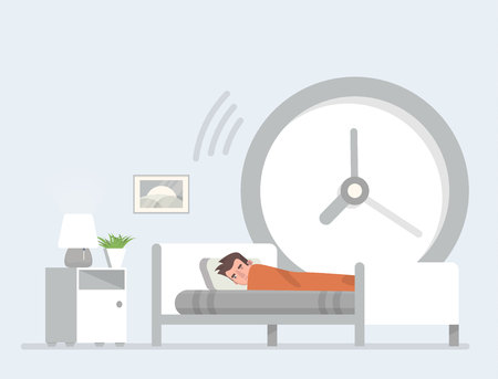 Man sleeping in bed with a big wall clock behind him. Stock Illustratie