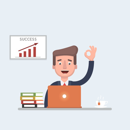 Businessman vector stock with a successful sales chart doing thumbs up while working behind his laptop.