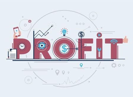 Modern flat line vector editable graphic illustration, business finance concept, profit.