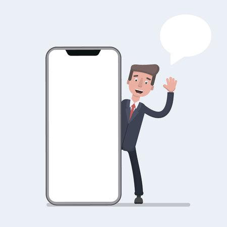 Businessman talking beside big smart phone with blank screen. Business communication concept. Stock Illustratie