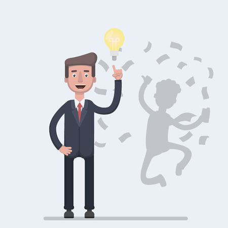 Businessman with idea bulb and his successful shadow gets a lot of money.