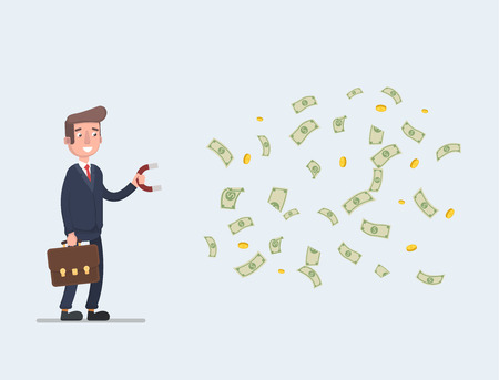 Businessman vector stock with a magnet to attract money. Successful business concept, great for presentation.