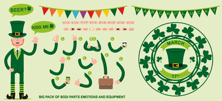 A flat character Leprechaun for your scenes. Creation of a character with different kinds, emotions of the face, lip synchronization and poses. Parts of the body template for design work and animation