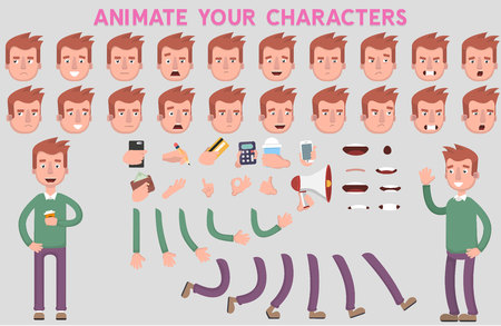 Flat Vector Guy character for your scenes. Character creation set with various views, face emotions, lip sync and poses. Parts of body template for design work and animation