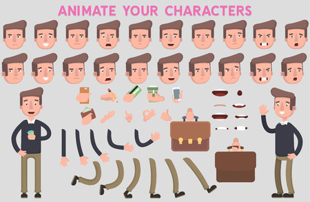 Flat Vector Guy character for your scenes. Character creation set with various views, face emotions, lip sync and poses.