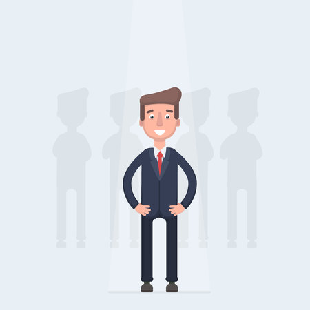 Businessman in spotlight isolated on background. Curriculum, recruitment, HR, human resources management concept. Pick business people to hire.