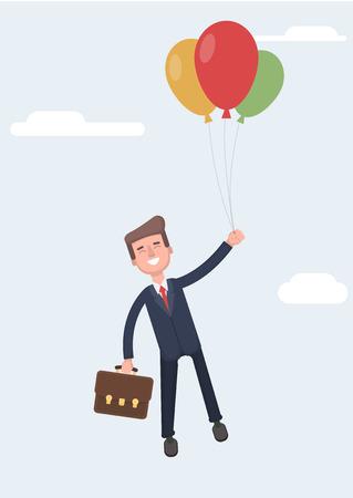 Businessman is flying in a hot air balloon. Flat design vector illustration. Stock Illustratie
