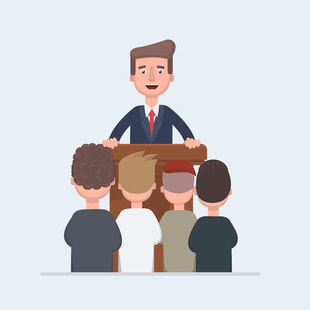 Business conference, business meeting. Man at rostrum in front of audience. Public speaker giving a talk at conference hall. Orator at tribune concepts.