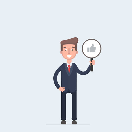 Business man with thumbs up icon isolated on white background. Testimonials, feedback, customer review concept.