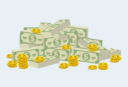Big pile of cash money and some gold coins. Heap of packed dollar bills. Flat style modern vector illustration isolated on white background. Vector illustration in cartoon style.