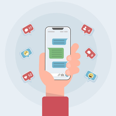 Social network notifications on mobile phone screen - new chat messages, new article likes and appreciations. Vector illustration in cartoon style.